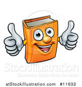 Vector Illustration of a Happy Orange Book Character Mascot Giving Two Thumbs up by AtStockIllustration