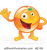 Vector Illustration of a Happy Orange Character Waving by AtStockIllustration
