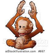 Vector Illustration of a Happy Orangutan Monkey Clapping His Hands and Feet by AtStockIllustration