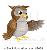 Vector Illustration of a Happy Owl Presenting or Pointing with His Wing by AtStockIllustration