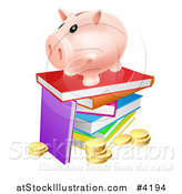 Vector Illustration of a Happy Piggy Bank on a Stack of Books over Coins by AtStockIllustration