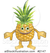 Vector Illustration of a Happy Pineapple Character by AtStockIllustration