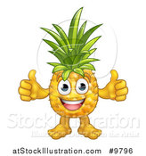 Vector Illustration of a Happy Pineapple Mascot Giving Two Thumbs up by AtStockIllustration