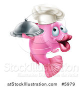 Vector Illustration of a Happy Pink Chef Fish Holding a Cloche Platter by AtStockIllustration