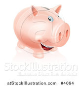 Vector Illustration of a Happy Pink Piggy Bank Smiling by AtStockIllustration