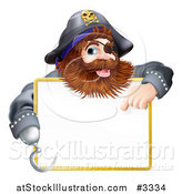 Vector Illustration of a Happy Pirate Pointing at a Sign by AtStockIllustration