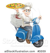 Vector Illustration of a Happy Pizza Delivery Chef Holding up a Pie on a Scooter by AtStockIllustration