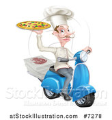 Vector Illustration of a Happy Pizza Delivery Chef with a Curling Mustache, Holding up a Pie on a Scooter by AtStockIllustration