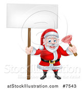 Vector Illustration of a Happy Plumber Christmas Santa Claus Holding a Plunger and Blank Sign by AtStockIllustration