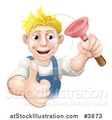 Vector Illustration of a Happy Plumber Holding a Plunger and a Thumb up by AtStockIllustration