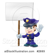 Vector Illustration of a Happy Police Officer Waving and Holding a Sign by AtStockIllustration