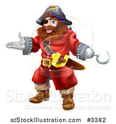 Vector Illustration of a Happy Presenting Male Pirate with a Hook Hand by AtStockIllustration