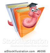 Vector Illustration of a Happy Professor or Graduate Earthworm Emerging from Upright Books by AtStockIllustration