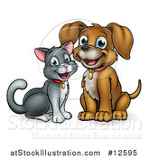 Vector Illustration of a Happy Puppy Dog and Cat Sitting by AtStockIllustration