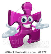 Vector Illustration of a Happy Purple Jigsaw Puzzle Piece Mascot by AtStockIllustration