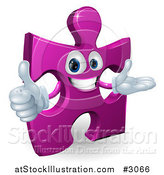 Vector Illustration of a Happy Purple Jigsaw Puzzle Piece Mascot Holding a Thumb up by AtStockIllustration