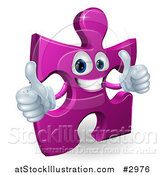 Vector Illustration of a Happy Purple Jigsaw Puzzle Piece Mascot Holding Two Thumbs up by AtStockIllustration