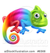 Vector Illustration of a Happy Rainbow Chameleon Lizard by AtStockIllustration