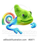 Vector Illustration of a Happy Rainbow Chameleon Lizard Pointing down at a Sign by AtStockIllustration