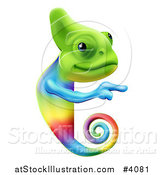 Vector Illustration of a Happy Rainbow Chameleon Lizard Pointing to a Sign by AtStockIllustration