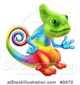 Vector Illustration of a Happy Rainbow Chameleon Lizard Presenting by AtStockIllustration