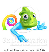 Vector Illustration of a Happy Rainbow Chameleon Lizard Waving or Presenting and Pointing down over a Sign by AtStockIllustration