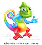Vector Illustration of a Happy Rainbow Chameleon Lizard Waving or Presenting by AtStockIllustration