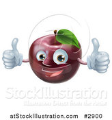 Vector Illustration of a Happy Red Apple Mascot Holding Two Thumbs up by AtStockIllustration