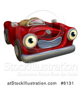 Vector Illustration of a Happy Red Car Character by AtStockIllustration