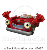 Vector Illustration of a Happy Red Car Character Holding Thumbs up by AtStockIllustration