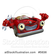 Vector Illustration of a Happy Red Car Character Mechanic Holding a Wrench and Thumb up by AtStockIllustration