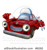 Vector Illustration of a Happy Red Car Character Wearing a Hat, Holding a Wrench and Thumb up by AtStockIllustration