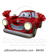 Vector Illustration of a Happy Red Car Holding Two Thumbs up by AtStockIllustration