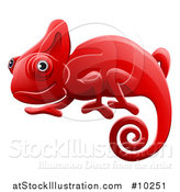 Vector Illustration of a Happy Red Chameleon Lizard by AtStockIllustration