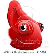 Vector Illustration of a Happy Red Chameleon Lizard Face Avatar by AtStockIllustration