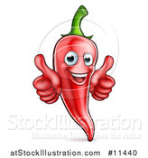 Vector Illustration of a Happy Red Chile Pepper Mascot Character Giving Two Thumbs up by AtStockIllustration
