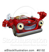 Vector Illustration of a Happy Red Convertible Car Character Mechanic Holding a Wrench and Thumb up by AtStockIllustration