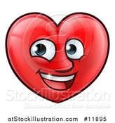 Vector Illustration of a Happy Red Love Heart Character by AtStockIllustration
