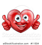 Vector Illustration of a Happy Red Love Heart Character Giving Two Thumbs up by AtStockIllustration