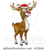 Vector Illustration of a Happy Red Nosed Reindeer Wearing a Christmas Santa Hat by AtStockIllustration