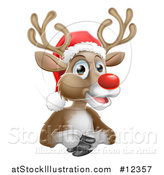 Vector Illustration of a Happy Red Nosed Reindeer Wearing a Santa Hat by AtStockIllustration