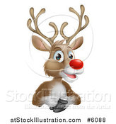Vector Illustration of a Happy Red Nosed Rudolph Reindeer by AtStockIllustration