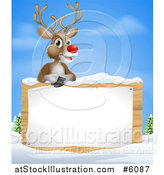 Vector Illustration of a Happy Red Nosed Rudolph Reindeer over a Winter Sign by AtStockIllustration
