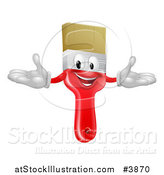 Vector Illustration of a Happy Red Paintbrush Mascot by AtStockIllustration