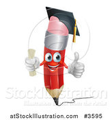 Vector Illustration of a Happy Red Pencil Mascot Graduate Holding a Thumb up by AtStockIllustration