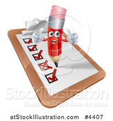 Vector Illustration of a Happy Red Pencil Mascot Holding Two Thumb up on a Check List Clipboard by AtStockIllustration