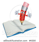 Vector Illustration of a Happy Red Pencil Mascot Holding Two Thumbs up on a Notebook by AtStockIllustration
