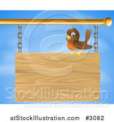 Vector Illustration of a Happy Robin Bird Perched on a Wood Sign Against the Sky by AtStockIllustration