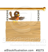Vector Illustration of a Happy Robin Bird Presenting on a Wood Sign by AtStockIllustration