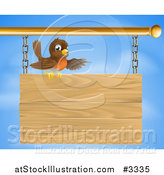 Vector Illustration of a Happy Robin Bird Presenting on a Wooden Sign by AtStockIllustration